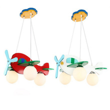 Resin aircraft baby room wood chandelier Led acrylic 3 head pendant lamp modern chandelier Led children's kids bedroom loft