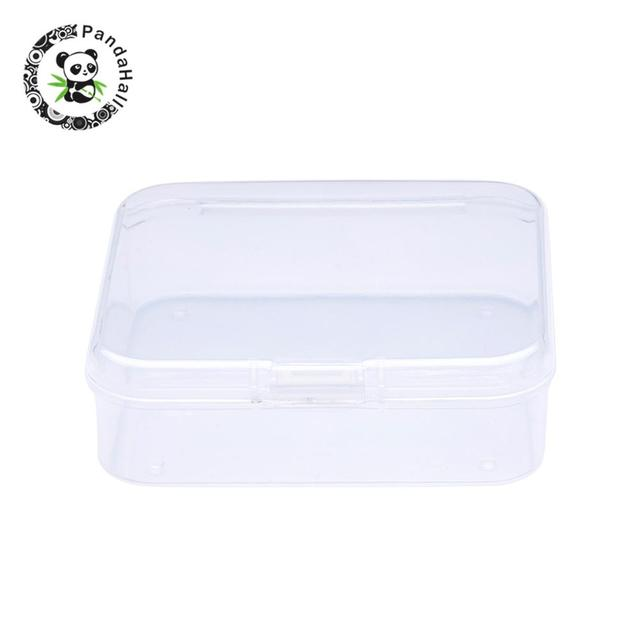 Square Plastic Bead Storage Containers, Clear, 6.4x6.3x2cm