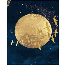 WEEN Moon Birds DIY Painting By Numbers kit for adults, Wall Art Picture, Canvas For Home Decor,Acrylic Paint 40x50cm
