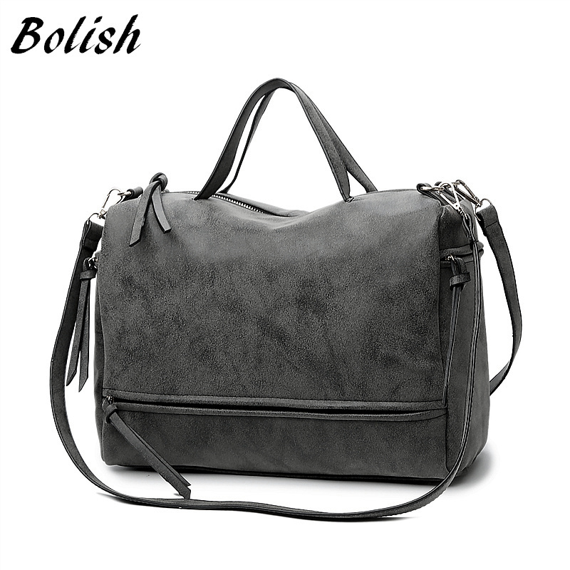 Bolish Brand Fashion Female Shoulder Bag Nubuck Leather women handbag  Vintage Messenger Bag Motorcycle Crossbody Bags Women Bag-in Shoulder Bags  from ... 3f1173b4f93d2
