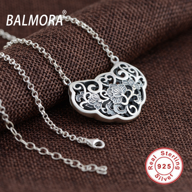 BALMORA 100% Real 925 Sterling Silver Jewelry Hollow Flower Retro Pendant Necklaces Female Accessories Gifts Bijoux JLWC80731