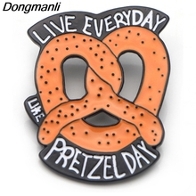P3867 Dongmanli Fashion Funny Pretzel  The Office TV Metal Enamel Brooches and Pins Collection Lapel Pin Badge Collar Jewelry