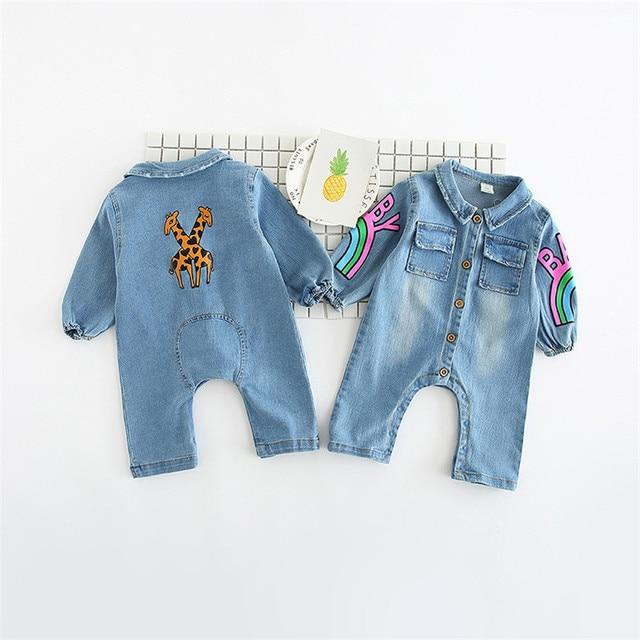 b6c4544f6fe4 2018 Soft Denim Baby Romper Graffiti Rainbow Infant Clothes Newborn  Jumpsuit Baby Boy Girls Costume Cowboy Fashion Jean Children