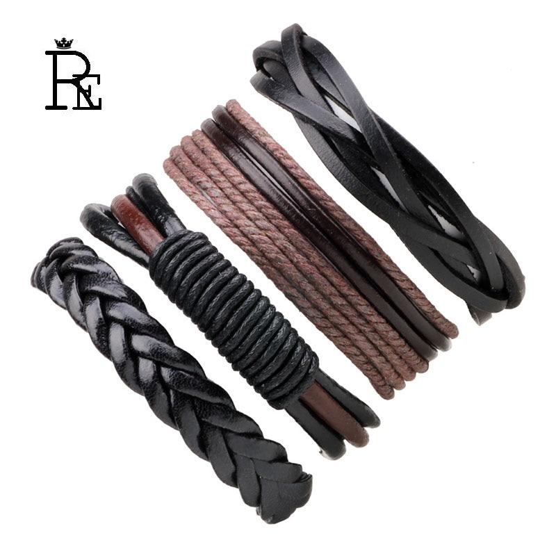 4pcs set braided bracelets bangles men leather bracelet pulseira masculina jewelry charm bileklik pulseiras boyfriend gift J40 in Charm Bracelets from Jewelry Accessories