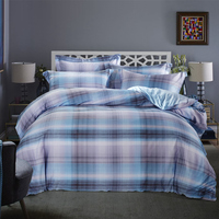 100 Egyptian Cotton Queen King Size Bedding Sets Plaid Stripe Duvet Cover Bed Sheet Pillowcase Bedroom
