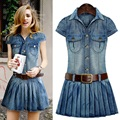 2016 Women Denim Dress New Summer Style Short Sleeve Turn-Down Collar Pockets Pleated Dress Belt Dress Plus Size S-4XL  D958