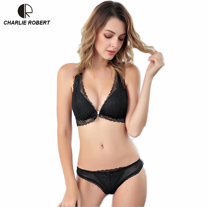 CR Front Closure <font><b>Bra</b></font> Intimates 2017 Women Sexy Lingerie Lace Y-line Straps Hollow Out <font><b>Panties</b></font> <font><b>Bra</b></font> <font><b>set</b></font> Underwear Free Shipping