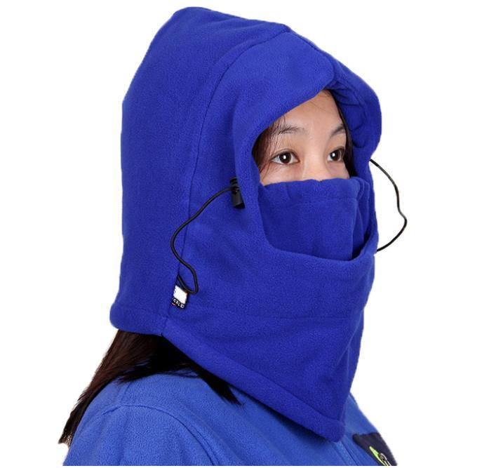 Winter Pure Color Beanies Hot Women Riding Skullies Male Masked Prevent Warm Outdoor Caps Wool Fleeces Active Wind Headgear M065 skullies