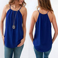 Summer Womens Casual Chiffon Vest Tops Tank Strap Blouse Sleeveless Camis Blue