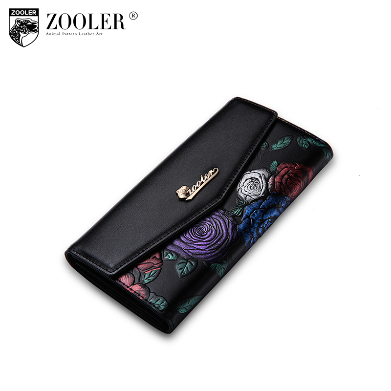 ZOOLER hot women leather wallets designed embossed 2018 stylish cowhide purse famous brand OL lady coin purses long 2953 zooler brand women leather wallets handbag hot 2018 new stylish purse small wallet famous brand ol lady coin long purses 3905