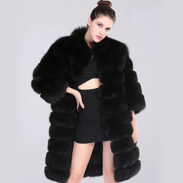 a28053231b1 Lanshifei X-Long Women s Fur Coats Faux Fur Coat Female Artificial Fox Fur  Ladies Long