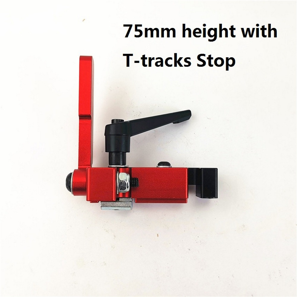 Wood Working Tool 75mm Height With T-tracks Stop Miter Gauge Table Saw Aluminium Profile Stopper