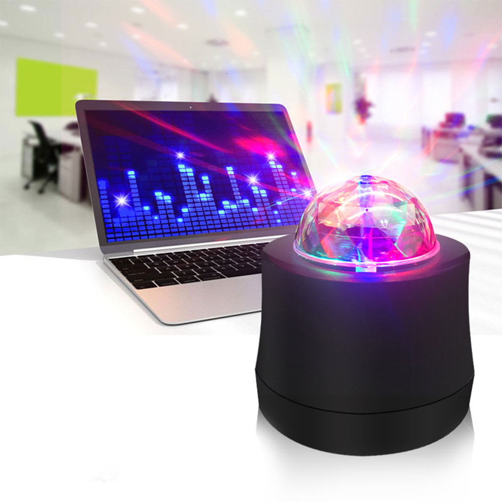 LED Disco Ball Light Music Control Ball Stage Effect Soundlights USB Power Supply DJ Magic Project Laser Party Lights Car use