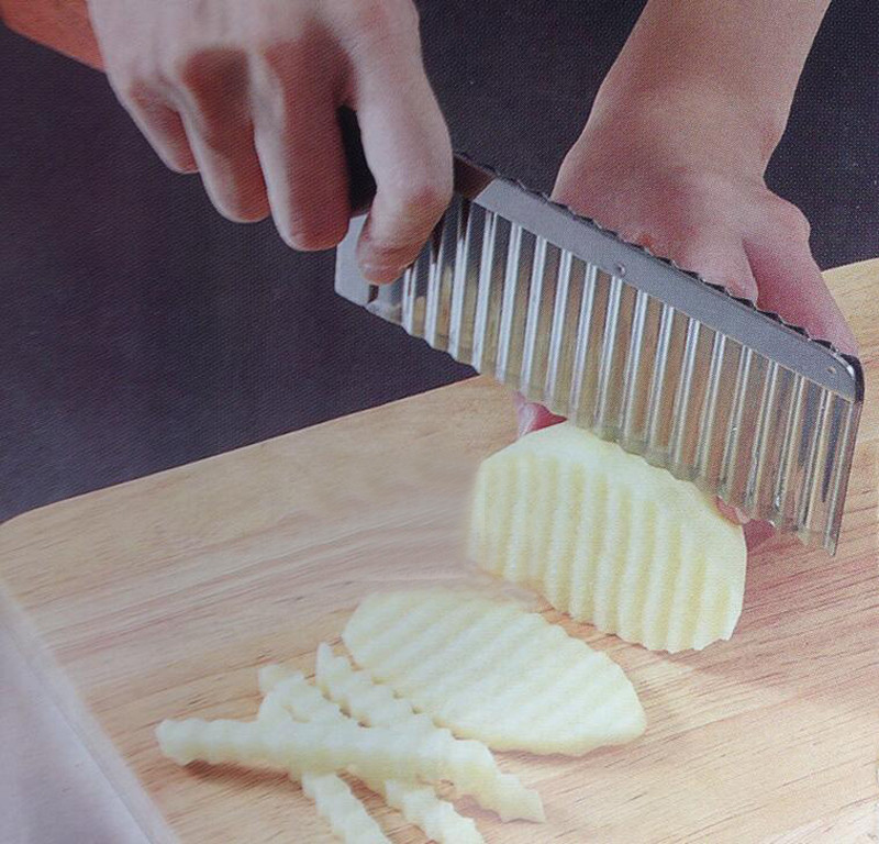 Potato Wavy Edged Knife Stainless Steel Kitchen Gadget Vegetable Fruit Cutting P