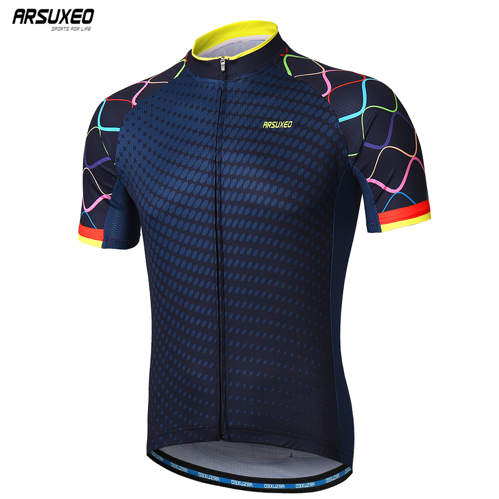 ARSUXEO Men Short Sleeves Cycling Jersey Quick Dry MTB Jersey Mountain Bicycle Shirts Road Bike Clothing Reflective Zipper Z84