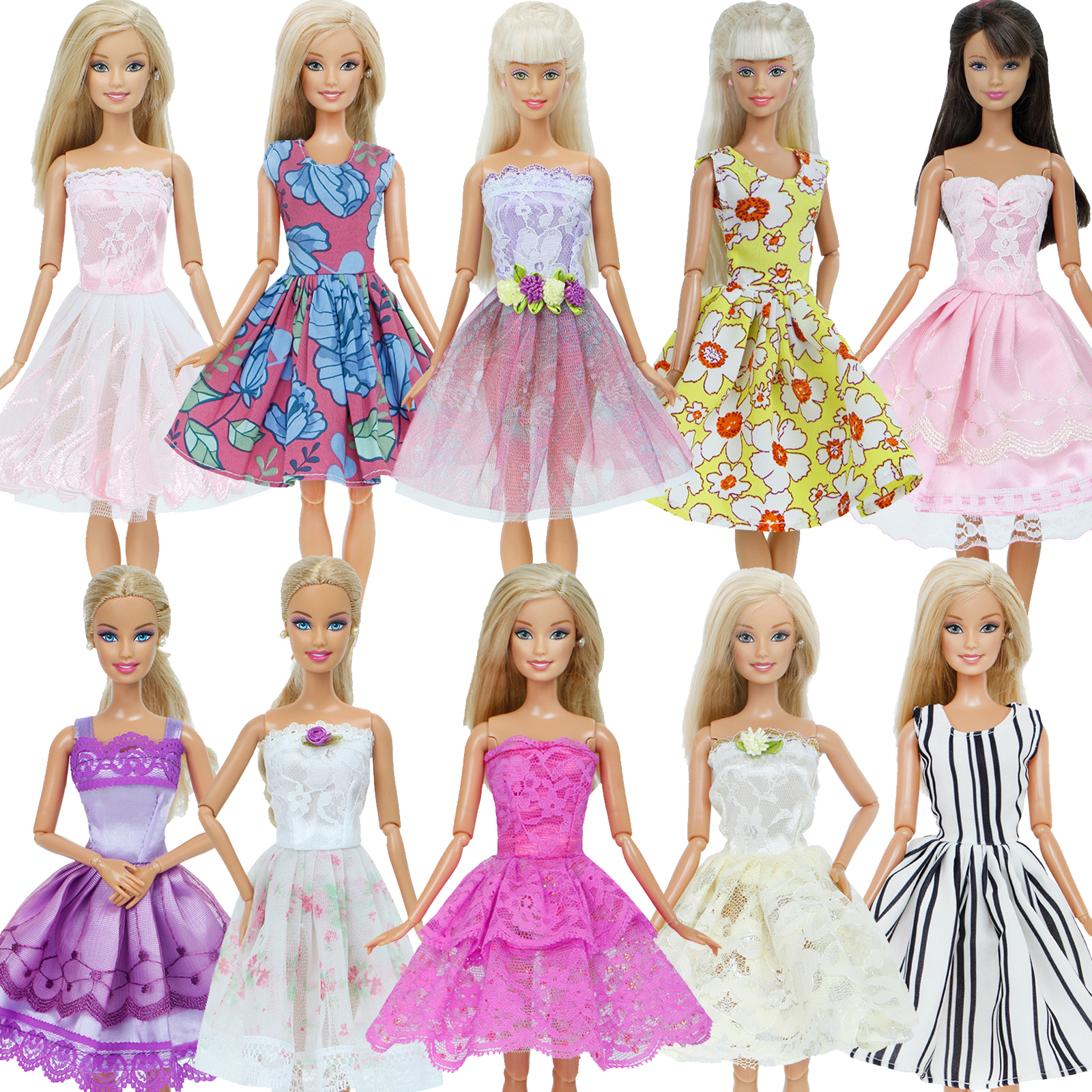 Purple Flower Skirt Party Dress Fit For 18/'/' American Girl Summer Doll Clothes
