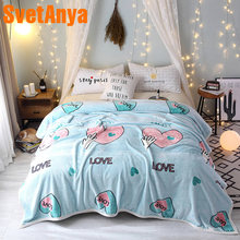Svetanya Heart Print Blanket warm Plaids Winter Sheet (flat Coin Thickness) twin full double queen king size Throws(China)