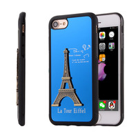 Mirror Soft Case For Iphone 7 Plus Paris Eiffel Tower 3D Metal Cover Full Protector Luxury