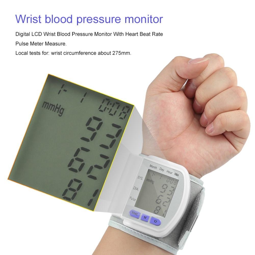 Automatic Wrist Blood Pressure Monitor Measurement Device Digital LCD Heart Beat Meter Pulse Oximeter Health Care Tonometer+Box