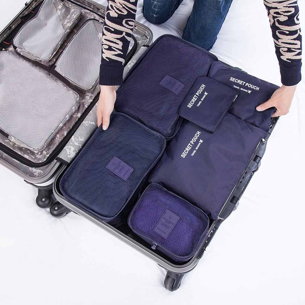2396e0f5e733 6 Pcs/set Nylon Packing Cubes Set Travel Bag Organizer Large Capacity  Travel Bags Hand Luggage Clothing Sorting Bolsa De Viaje