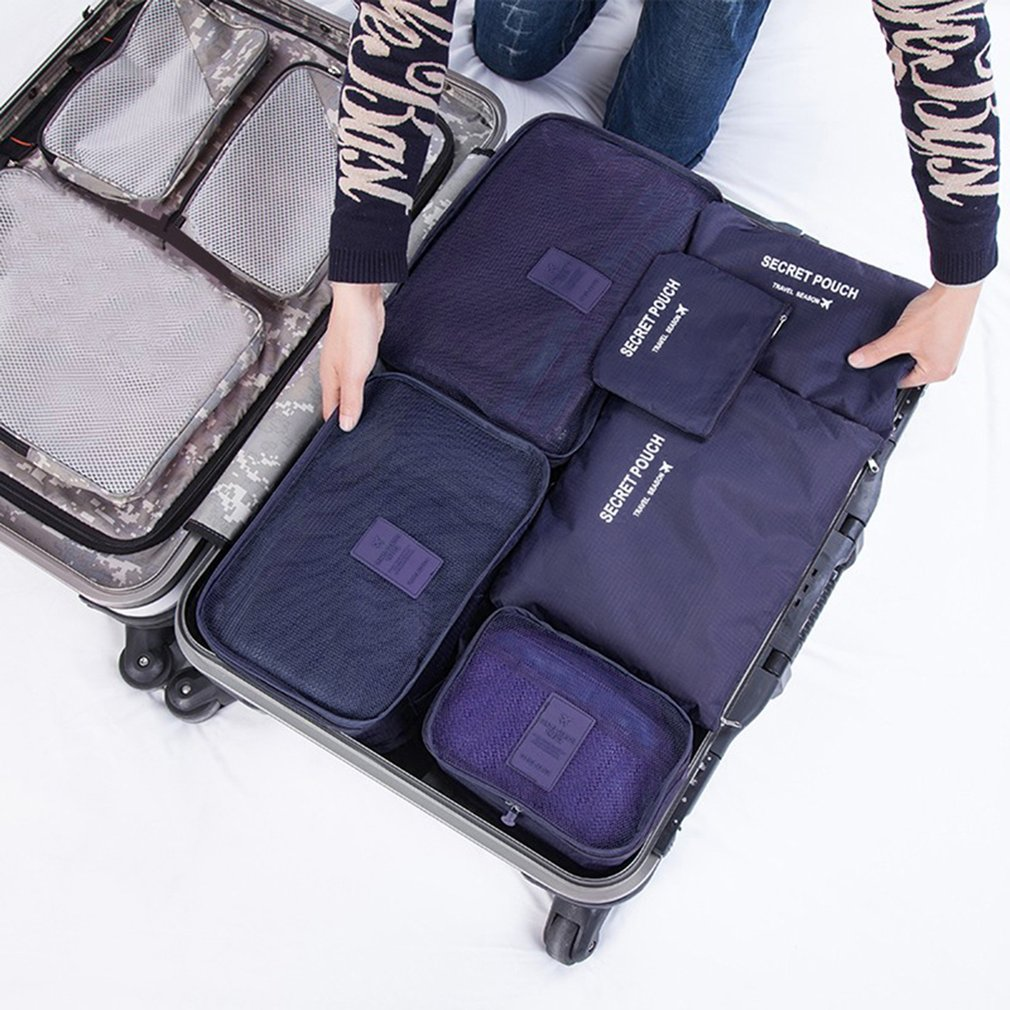 6 Pcs/set Nylon Packing Cubes Set Travel Bag Organizer Large Capacity Travel Bags Hand Luggage Clothing Sorting Bolsa De Viaje high quality travel 6 pieces set of luggage separate organizer large capacity storage bag cubic shoe bag travel bag