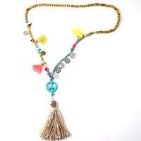 Handmade Dài Bọc Rope Necklace với Mặt Dây Đầy Màu Sắc Đánh Dấu Hòa Bình Lông Natural Tuyên Bố Đá Boho Necklaces đối với Phụ N