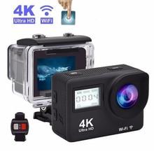 "Mini câmera de ação 4k para capacete, câmera sansnail wifi 2.0 ""full hd, allwinner, 30fps, mini, à prova d água, câmera esportiva dv controle remoto"