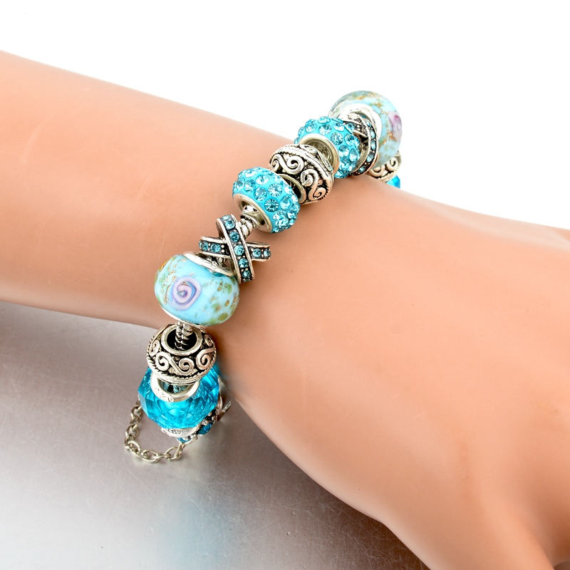 CHICVIE Black Crystal Chain Link Bracelets For Women Female Charm Custom Bracelets & Bangles DIY Silver Color Jewelry SBR160014 21