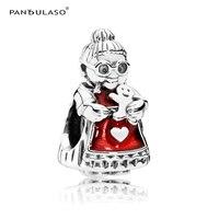 Pandulaso Mrs Santa Claus Bà Ngoại Beads Đối Với Trang Sức Làm Fit Charms Silver 925 Gốc Vòng Tay Phụ Nữ DIY Đông Trang Sức