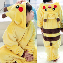 GKWMZG Flannel child pajamas Kigurumi Pikachu pajama lovely animal Robe Bathrobe winter cosplay kids girl costume