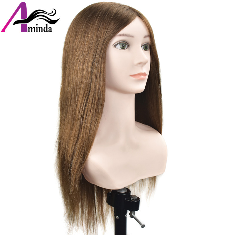 18Inch Gold Hair Cosmetology Mannequin Manikin Training Head Model Hairdressing Styling Practice Training Doll Heads with Bust