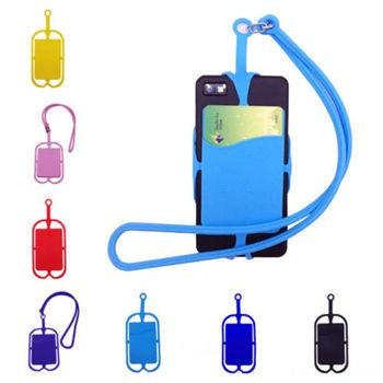 ISKYBOB Cell Phone Silicone Wallet Case Credit ID Card Bag Holder Pocket with Lanyard TO Phone Sticker Card Pouch Passport & ID Holders