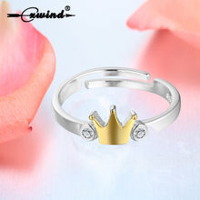 Cxwind Fashion Princess Queen Crown Ring Design Women Wedding Crystal Size Adjustable with Top Gold Tiara Rings Gift(China)