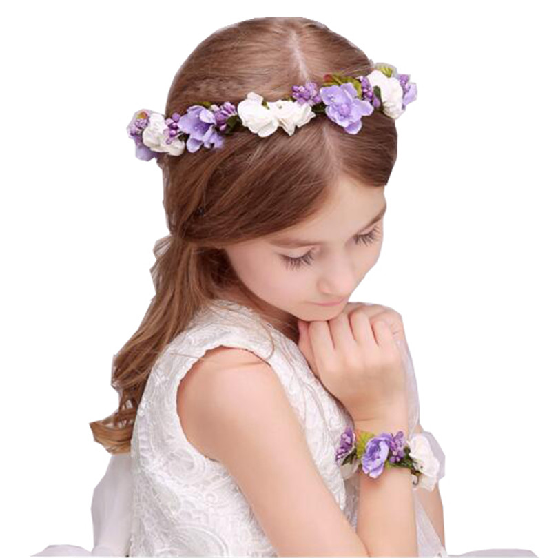 boho floral wrist flower girl garland headwear crown of flowers for hair  wreath headband accessories headpieces wedding tiara-in Hair Accessories  from ... 21e5d33b2605