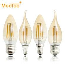 E27 E14 E12 E17 2 W 4 W 6 W 220 V 110 V C35 Dimmable Retro หลอดไฟ LED โคมไฟเทียนโคมระย้าแสง Night Light สำหรับในร่ม
