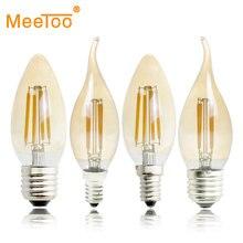 E27 E14 E12 E17 2 W 4 W 6 W 220 V 110 V C35 Kısılabilir Retro filament LED Ampul Lamba mum Işığı Avize Gece Işık Kapalı Ev Için
