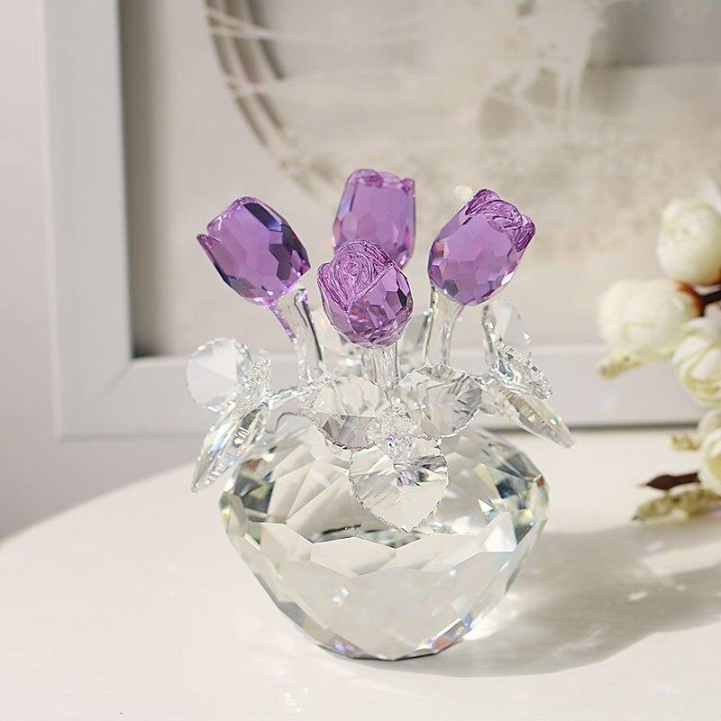 H & D cadeau pour elle, cristal Rose fleur Figurines sans faille Bouquet Sculpture rêves ornement mariage faveurs décor à la maison (violet)