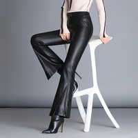 Fashion Autumn and Winter New Style Leather Leather Pants Female Sheep Skin Micro pu Pants High Waist Was Thin Leisure Fish