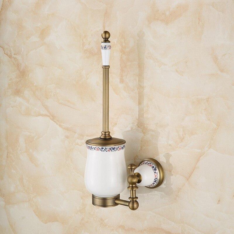 цена на European style copper blue and white porcelain antique toilet brush retro style toilet brush holder LO731533
