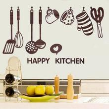 Creative Removable Happy Kitchen Cooking art home Wall Stickers Utensil Vinyl Decal Decor Poster for DIY