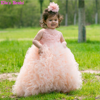 Children Flower Girl Dresses For Weddings Princess Pageant Ball Gown Dress Kids Ruched Tiered Tulle Dress