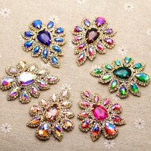 5.8*4.5cm Glass+resin Colorful rhinestone applique Gold Base Belt Applique Sew on Rhinestone For Party Wedding Dress Decoration