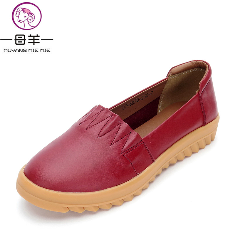 MUYAGN MIE MIE Women Shoes Genuine Leather Flat Shoes Woman Casual Comfortable Shoes Female Moccasins Women Flats 2017 summer new women fashion leather nurse teacher flats moccasins comfortable woman shoes cut outs leisure flat woman casual s