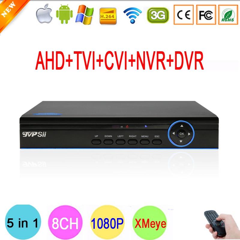 Bule Ray Case HI3520D Xmeye 8 Channel 8CH 1080P Surveillance Camera 1080N Coaxial Hybrid NVR TVI
