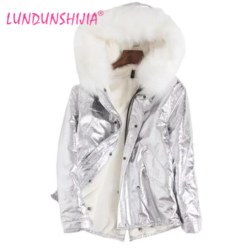 LUNDUNSHIJIA 2017 Winter New Parka Silver Jacket Women Fur Jacket Big Fur Collar Hooded Warm Gold Thick Cotton-padded Clothes