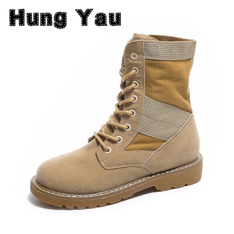 HungYau Women Army Boots 2017 Autumn Leather Desert Boots Lace Up Land Shoes Punk Brown Black Colors Plus Size 40 zapatos mujer princess sweet punk shoes loliloli yoyo japanese design custom black flock lace up fox skin fur wedges short boots 4174
