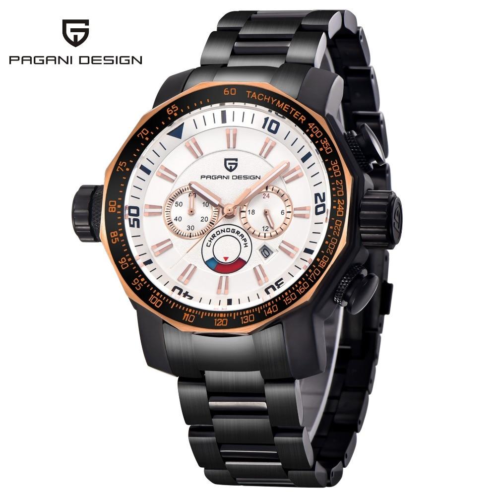 PAGANI DESIGN montres hommes de luxe Sport montre militaire grand cadran multifonction en acier inoxydable Date Quartz montre-bracelet avec boîte
