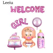 Leeiu 16 inch Pink Blue Welcome Foil Letter Ballons Its A Boy Girl Baby Shower Birthday Balloons Kids Party Decoration