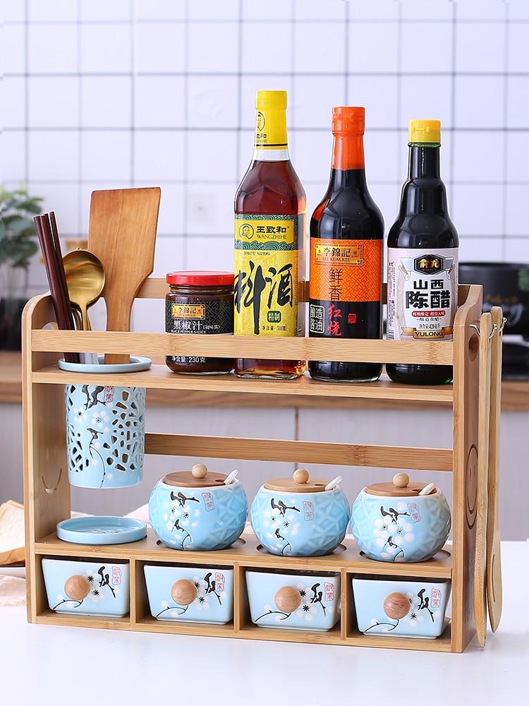 Ceramics pot chopsticks tube condiment box salt household shelf glass container jar candy secret stash trinket cereal container