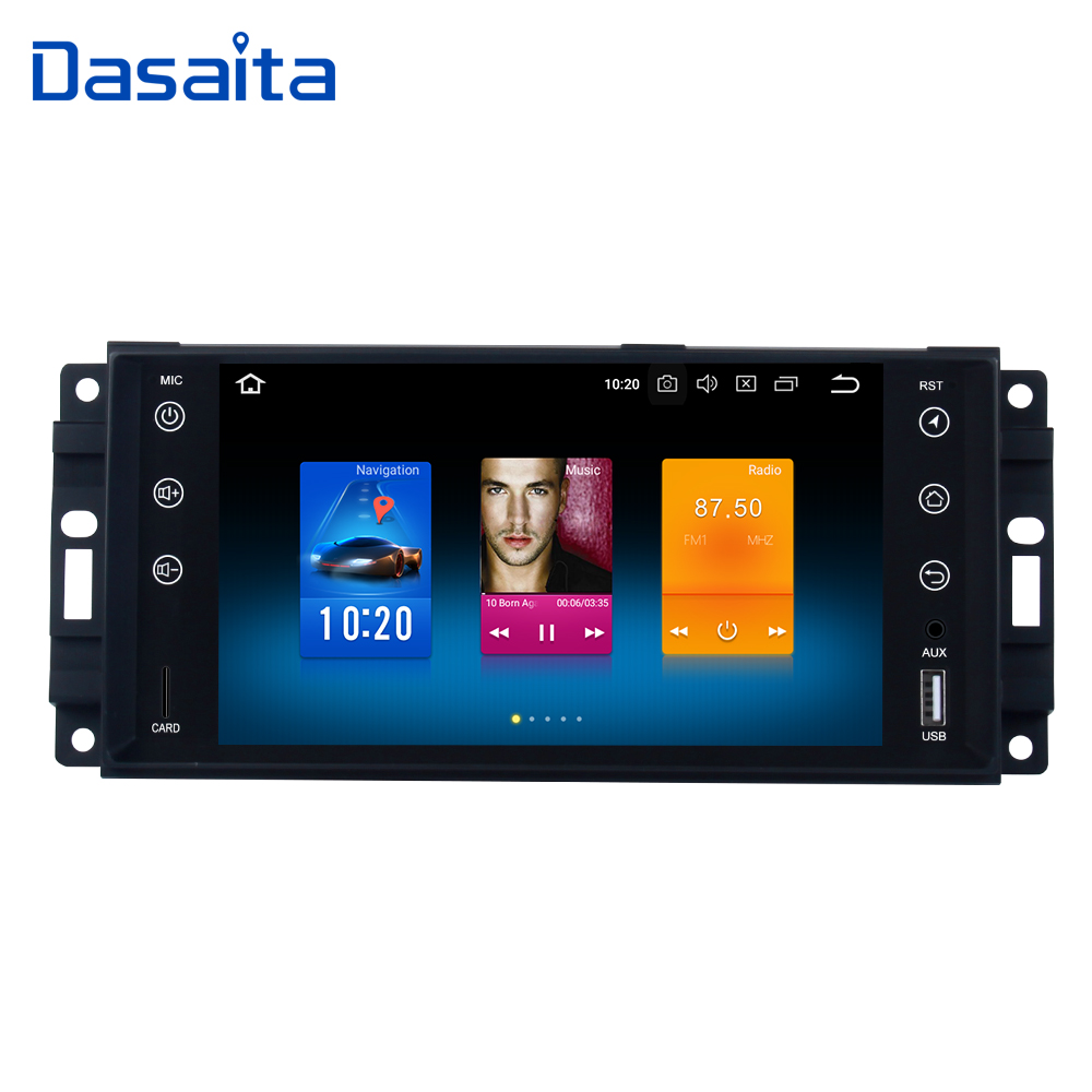 Dasaita 7 Android 8.0 Car GPS Radio Player for Jeep Chrysler Dodge with Octa Core 4GB+32GB Auto Stereo Navi Video Multimedia